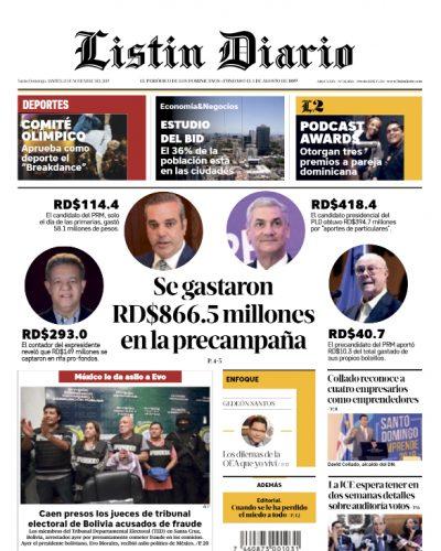 Portada Periódico Listín Diario, Martes 12 de Noviembre, 2019