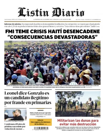 Portada Periódico Listín Diario, Martes 26 de Noviembre, 2019