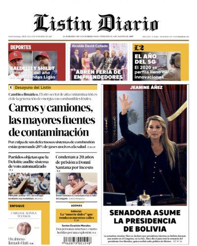 Portada Periódico Listín Diario, Miércoles 13 de Noviembre, 2019