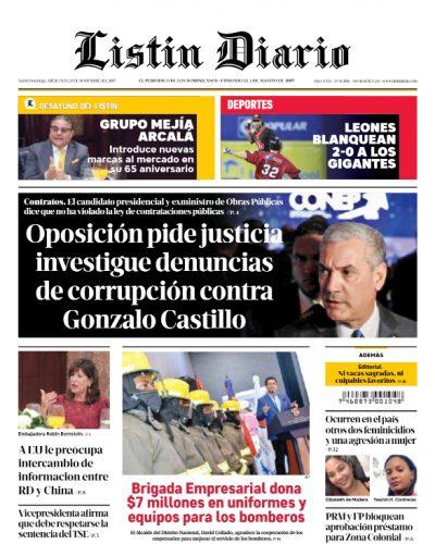 Portada Periódico Listín Diario, Miércoles 20 de Noviembre, 2019