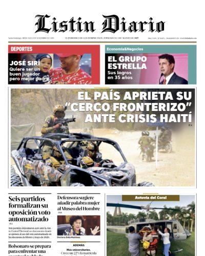 Portada Periódico Listín Diario, Miércoles 27 de Noviembre, 2019