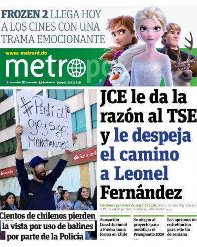 Portada Periódico Metro, Jueves 21 de Noviembre, 2019