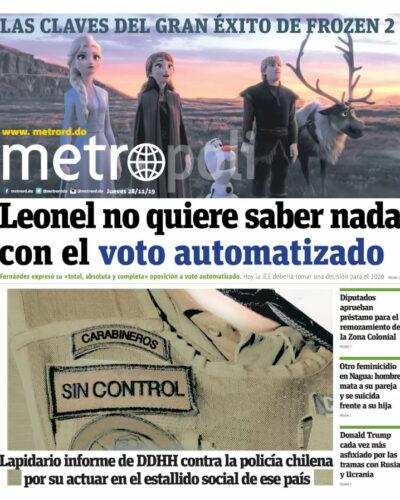 Portada Periódico Metro, Jueves 28 de Noviembre, 2019