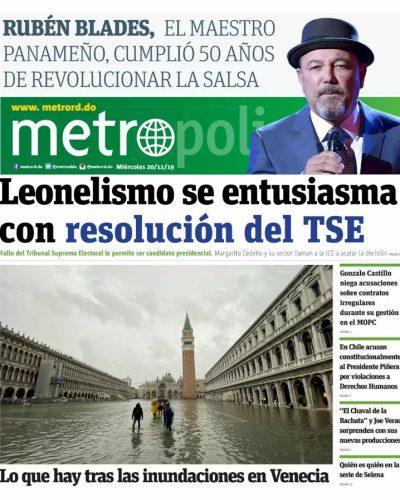 Portada Periódico Metro, Miércoles 20 de Noviembre, 2019