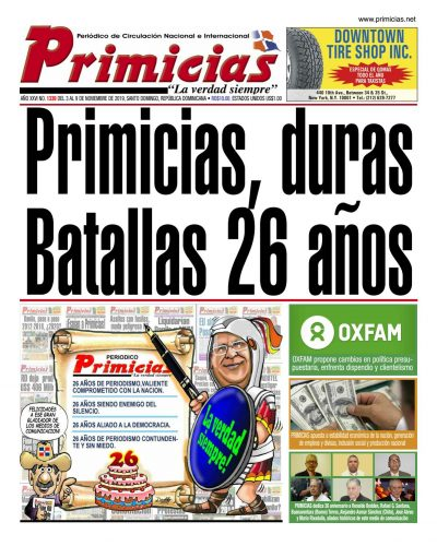 Portada Periódico Primicias, Lunes 04 de Noviembre, 2019
