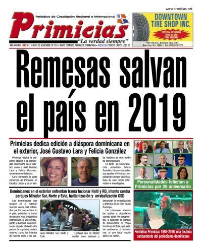 Portada Periódico Primicias, Lunes 11 de Noviembre, 2019