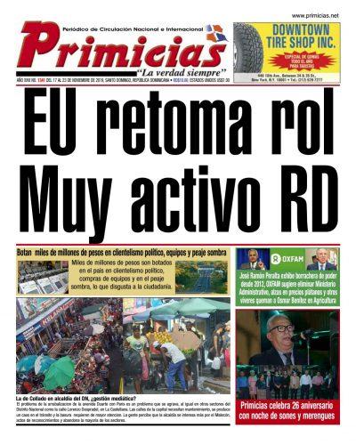 Portada Periódico Primicias, Lunes 18 de Noviembre, 2019
