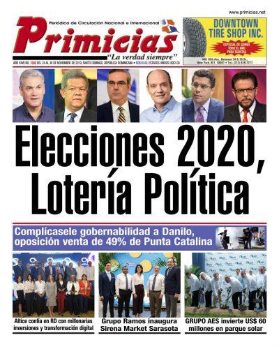 Portada Periódico Primicias, Lunes 25 de Noviembre, 2019