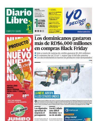 Portada Periódico Diario Libre, Jueves 05 de Diciembre, 2019