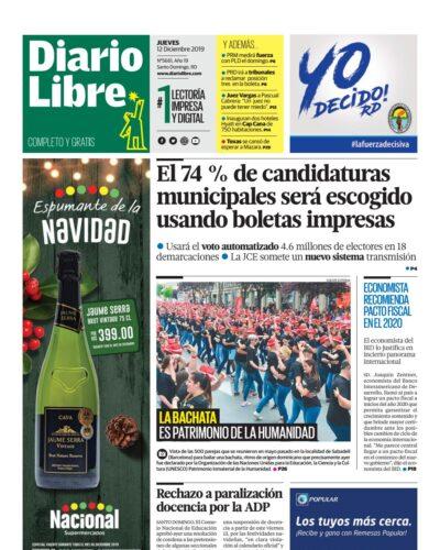 Portada Periódico Diario Libre, Jueves 12 de Diciembre, 2019