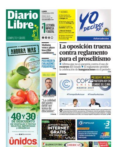 Portada Periódico Diario Libre, Lunes 02 de Diciembre, 2019