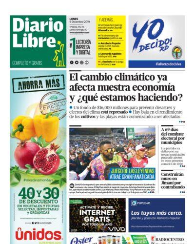 Portada Periódico Diario Libre, Lunes 09 de Diciembre, 2019