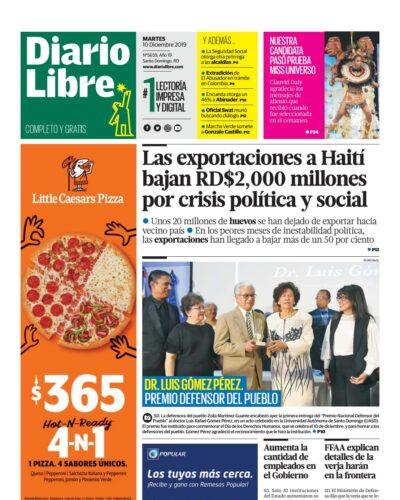 Portada Periódico Diario Libre, Martes 10 de Diciembre, 2019