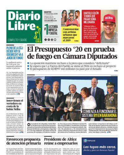 Portada Periódico Diario Libre, Martes 17 de Diciembre, 2019