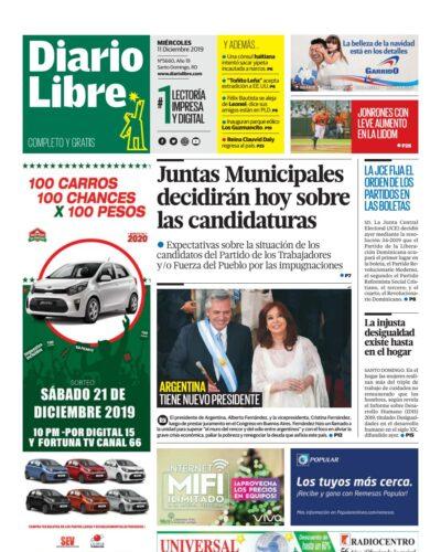 Portada Periódico Diario Libre, Miércoles 11 de Diciembre, 2019