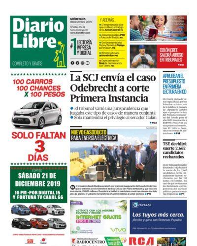 Portada Periódico Diario Libre, Miércoles 18 de Diciembre, 2019