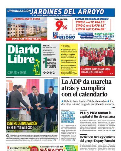 Portada Periódico Diario Libre, Sábado 14 de Diciembre, 2019