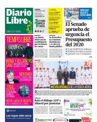 Portada Periódico Diario Libre, Viernes 13 de Diciembre, 2019