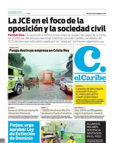 Portada Periódico El Caribe, Jueves 05 de Diciembre, 2019