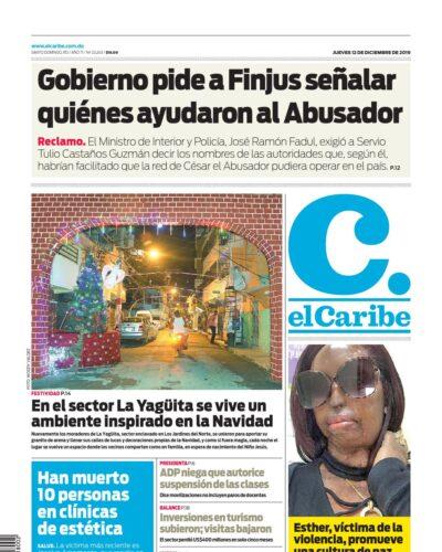 Portada Periódico El Caribe, Jueves 12 de Diciembre, 2019