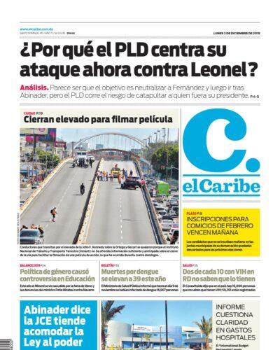 Portada Periódico El Caribe, Lunes 02 de Diciembre, 2019
