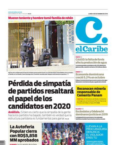Portada Periódico El Caribe, Lunes 09 de Diciembre, 2019