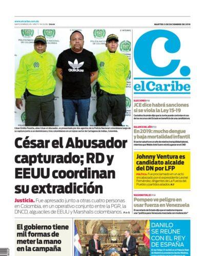 Portada Periódico El Caribe, Martes 03 de Diciembre, 2019