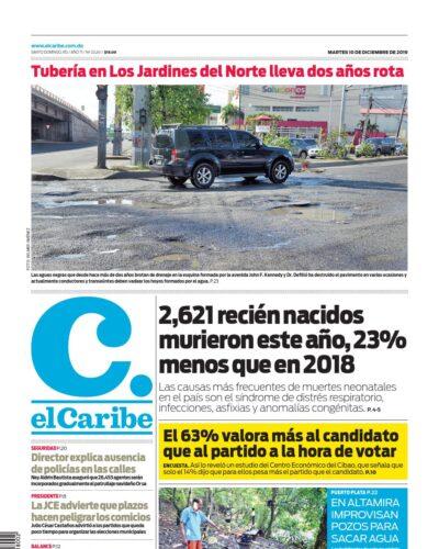 Portada Periódico El Caribe, Martes 10 de Diciembre, 2019