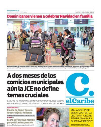 Portada Periódico El Caribe, Martes 17 de Diciembre, 2019
