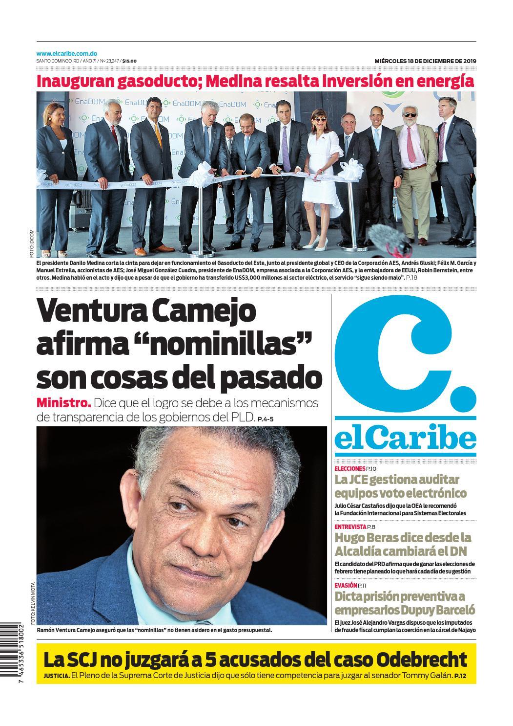Portada Periódico El Caribe, Miércoles 18 de Diciembre, 2019