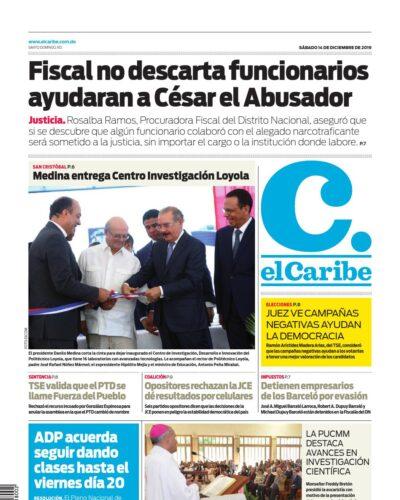 Portada Periódico El Caribe, Sábado 14 de Diciembre, 2019