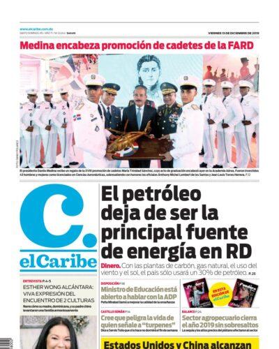 Portada Periódico El Caribe, Viernes 13 de Diciembre, 2019