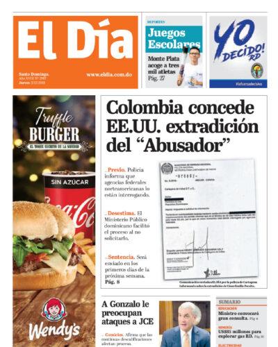 Portada Periódico El Día, Jueves 05 de Diciembre, 2019