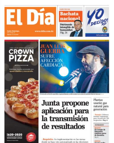 Portada Periódico El Día, Jueves 12 de Diciembre, 2019