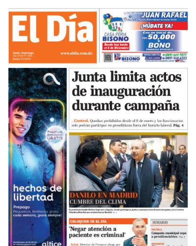 Portada Periódico El Día, Lunes 02 de Diciembre, 2019
