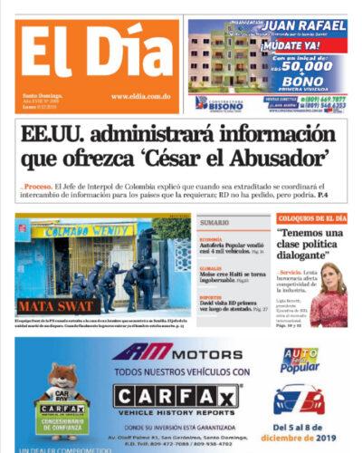 Portada Periódico El Día, Lunes 09 de Diciembre, 2019