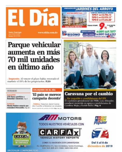 Portada Periódico El Día, Lunes 16 de Diciembre, 2019
