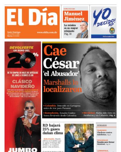 Portada Periódico El Día, Martes 03 de Diciembre, 2019
