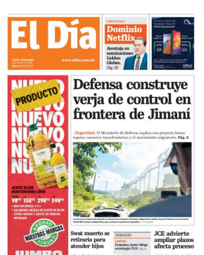 Portada Periódico El Día, Martes 10 de Diciembre, 2019