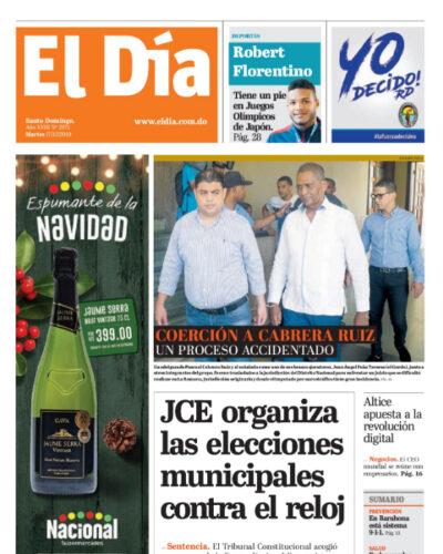 Portada Periódico El Día, Martes 17 de Diciembre, 2019