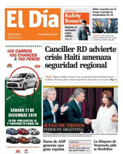 Portada Periódico El Día, Miércoles 11 de Diciembre, 2019