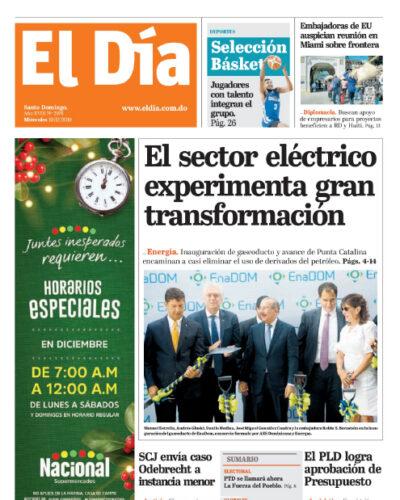 Portada Periódico El Día, Miércoles 18 de Diciembre, 2019