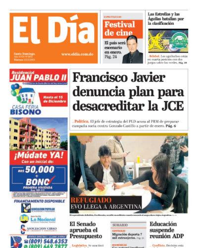 Portada Periódico El Día, Viernes 13 de Diciembre, 2019