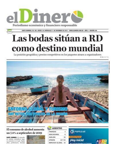 Portada Periódico El Dinero, Jueves 05 de Diciembre, 2019