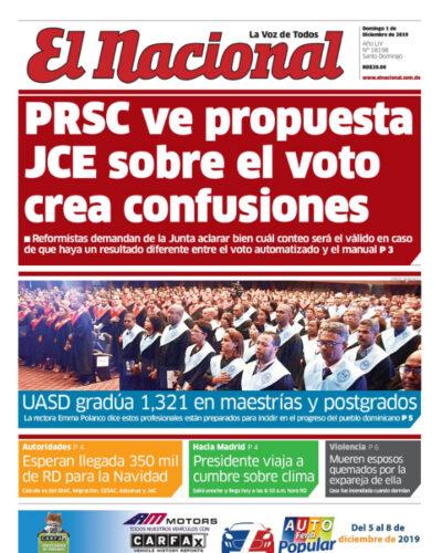 Portada Periódico El Nacional, Domingo 01 de Diciembre, 2019