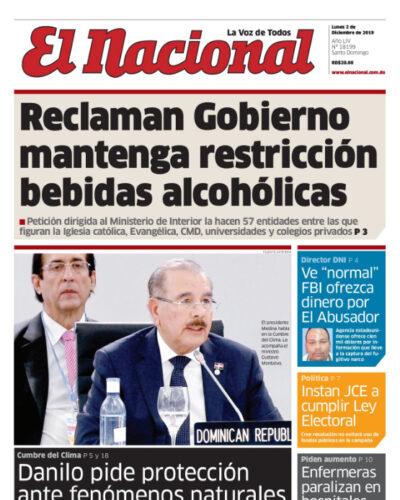 Portada Periódico El Nacional, Lunes 02 de Diciembre, 2019