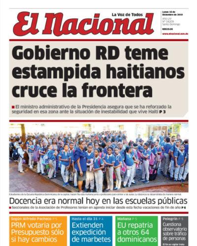 Portada Periódico El Nacional, Lunes 16 de Diciembre, 2019