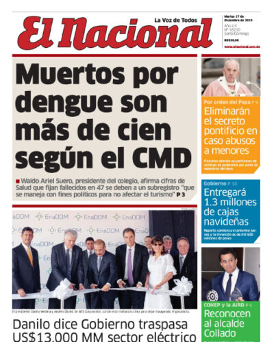 Portada Periódico El Nacional, Martes 17 de Diciembre, 2019