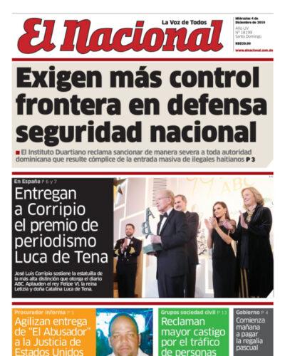 Portada Periódico El Nacional, Miércoles 04 de Diciembre, 2019