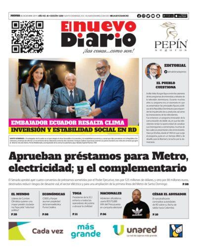 Portada Periódico El Nuevo Diario, Jueves 05 de Diciembre, 2019